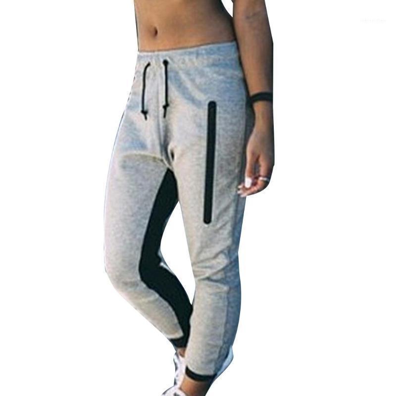 Moda Mujeres Elástica Cintura Pantalones Casuales Fitness Deportes Correr Pantalones1
