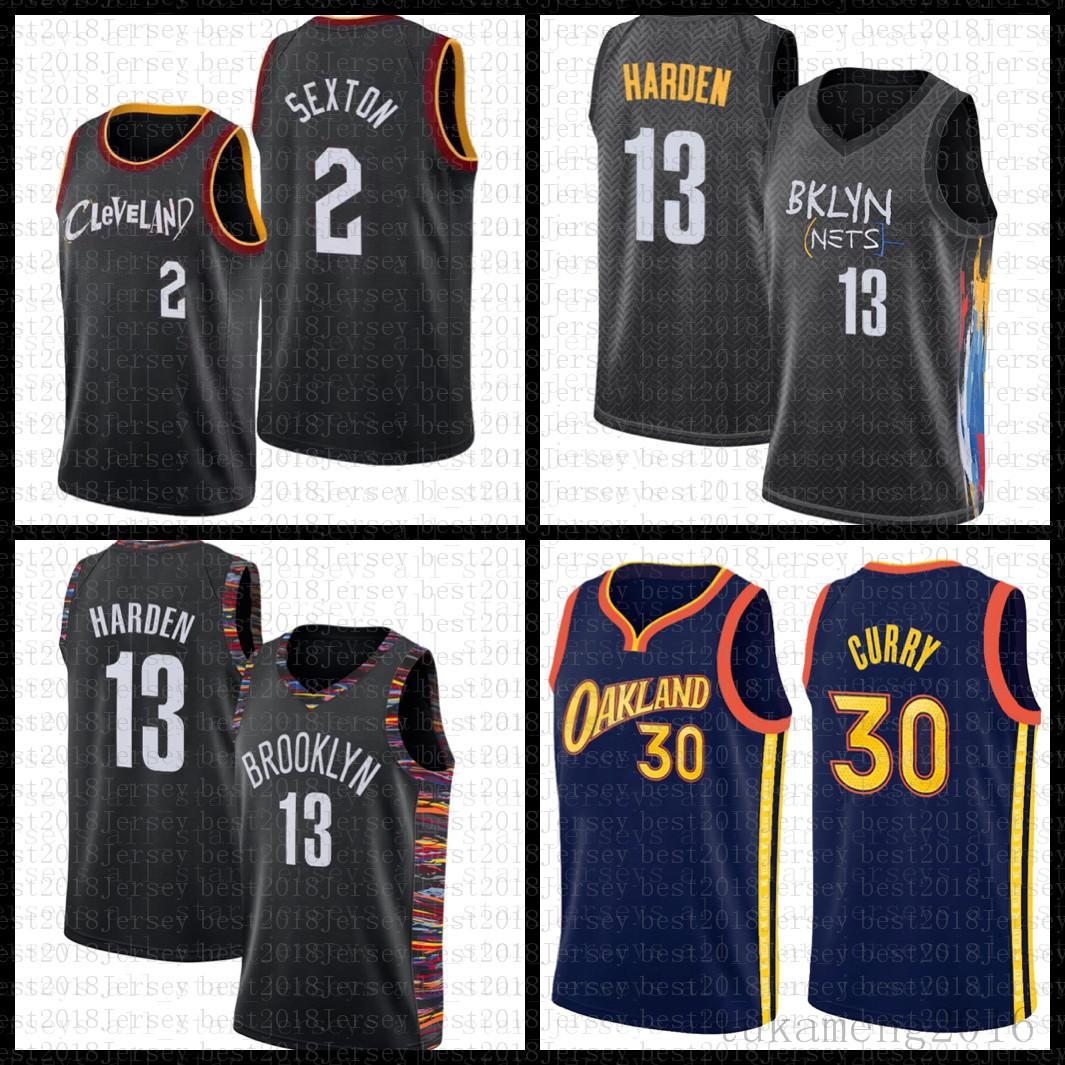 "Cleveland ""Cavaliers"" Mens Collin 2 Sexton Darius 10 Garland 2021 New Basketball Jersey Blue Homens"