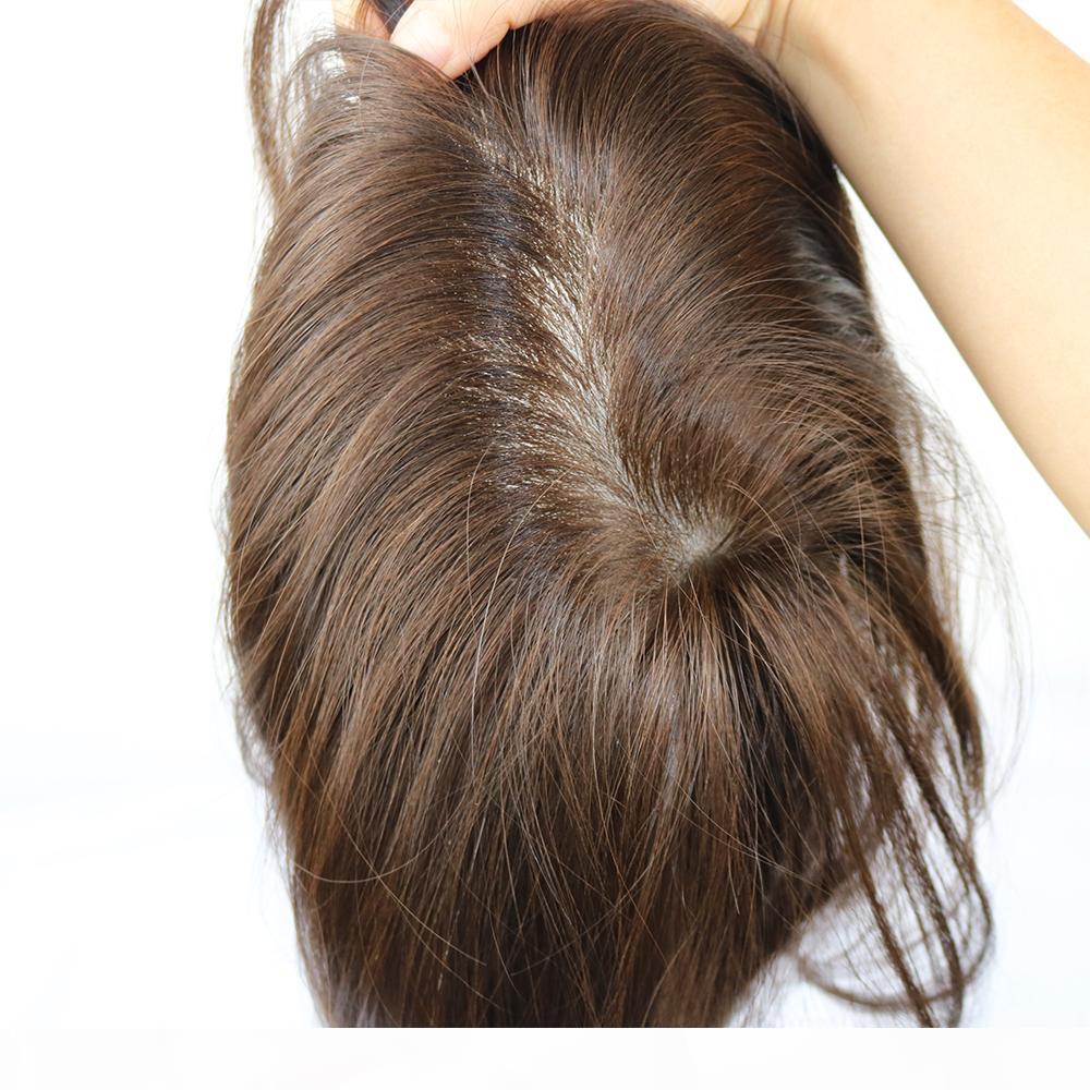Erkek Peruk Avrupa İnsan Saç Hairpieces Erkek Toupee Şeffaf Ince Cilt PU Saç Değiştirme Renk # 3 Erkekler Sistemleri