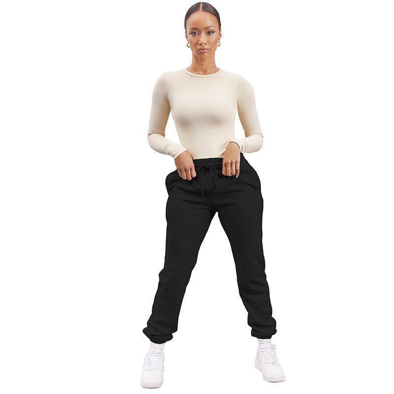Kadınlar Siyah Spor Pantolon İpli Elastik Bel Cep Casual Pantolon Kadın Orta Wiast Pantolon