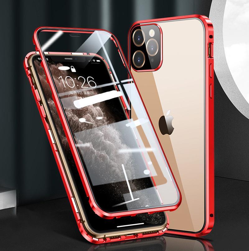 İPhone12 cep telefonu koruyucu kabuk yeni Apple 12promax manyetizma mıknatıs çift taraflı cam toptan cep telefonu kılıfları