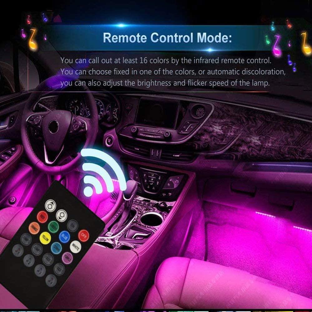Auto Innenlichter Bodenatmosphäre Glühen Neonlichter Multi-Color Music Strip Lights Dekorative Unterdash-Beleuchtungsset