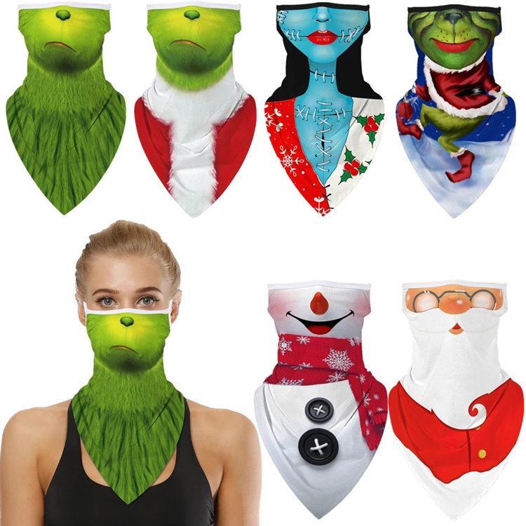 Cómo la grinch robó la Navidad Santa Claus Muñeco de nieve Cosplay Face Mask Bufanda Bufanda Máscaras Bandana Diadema Balaclava