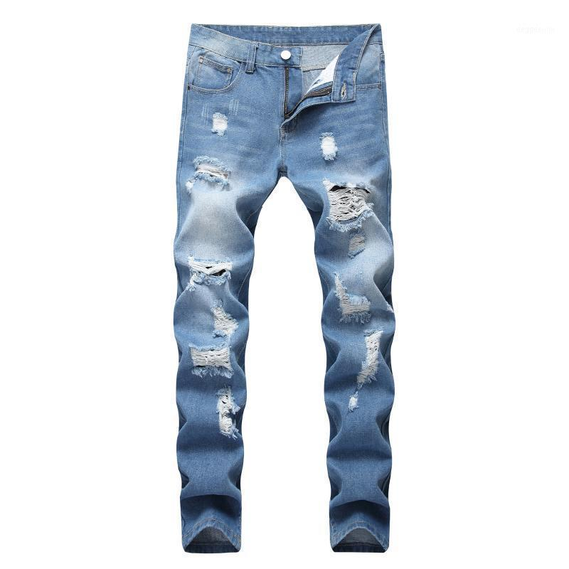 Qmgood 2020 nuevos jeans apenados azules hombres streetwear striple ripped skinny jeans hombres delgado ajuste cremallera pantalones de mezclilla jean homme1