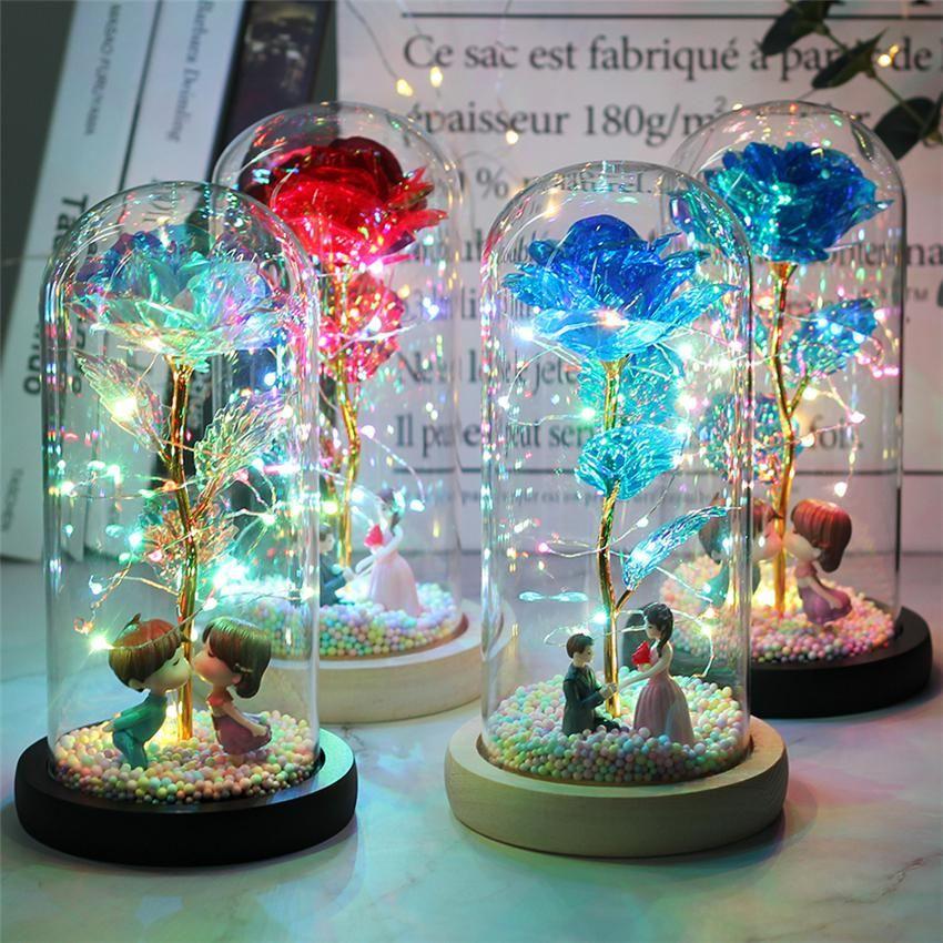 LED Büyülü Galaxy Gül Ebedi 24 K Altın Folyo Çiçeği Peri Dize Işıkları ile Noel Sevgililer Günü Hediyesi için Dome Işıkları NWE2941
