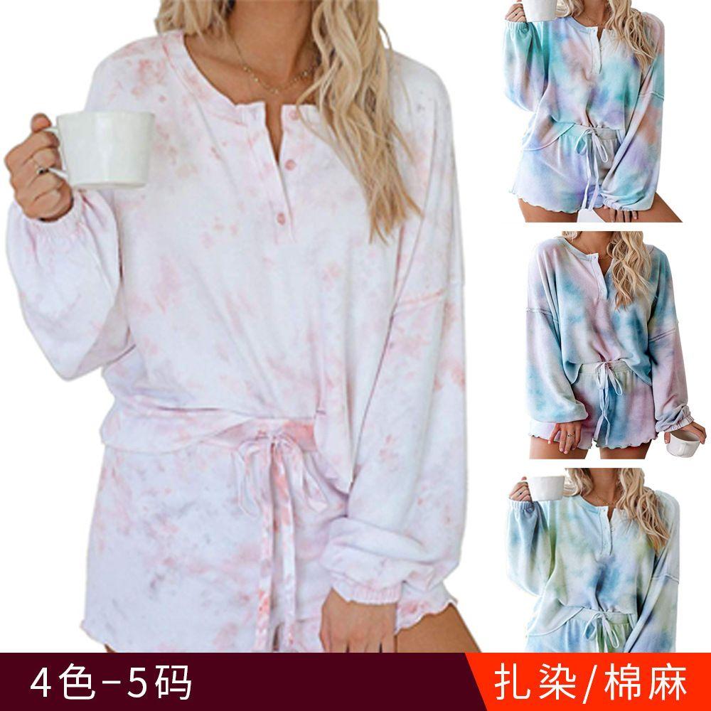 4colour S-XXL 여성의 새로운 넥타이 염료 인쇄 캐주얼 스포츠 스웨터 집 긴팔 2 피스 패션 정장 나무 귀 40618062747035