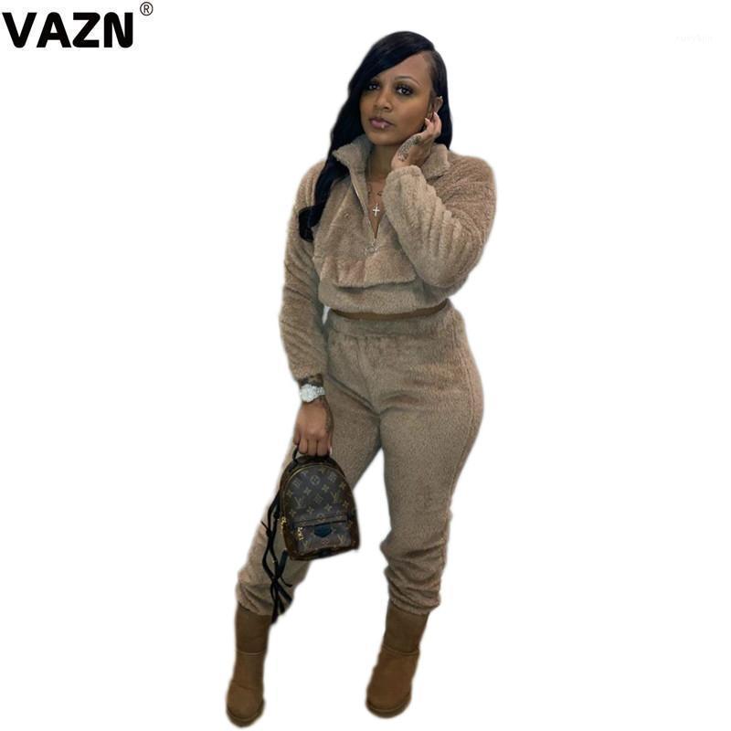 Vazn 2020 Winter Invierno Free Soft Soft Daily Regular Sólido Sólido Capucha Grupo de manga larga Pantalones largos Slim Trajes Mujeres Set1