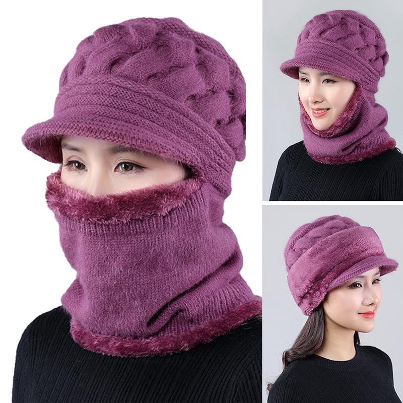 2020 Женская шея теплые осень осень зимние шапки шляпы маска женщины зимняя шляпа вязаные шапки шарф набор шапочки горки