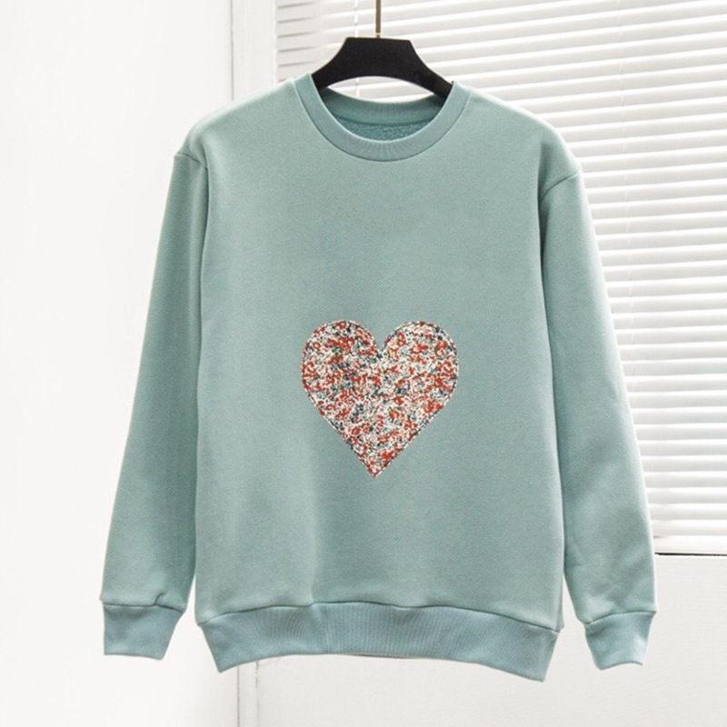 Mode für Frauen Sweatshirt Top große Qualität Super-Cosy Liberty-Patch-Langarm-Retro Sweatshirts Frauen Herbst-Winter-Hip Hop Sweat Shirt