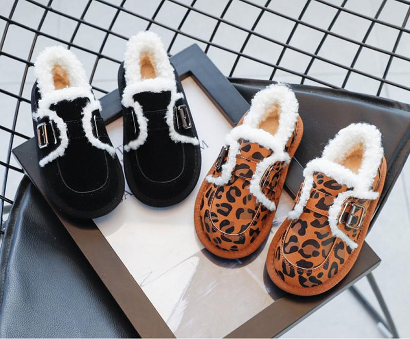 Fashion hot sale new high-quality unisex boys and girls soft-soled warm cotton shoes leopard print casual shoes