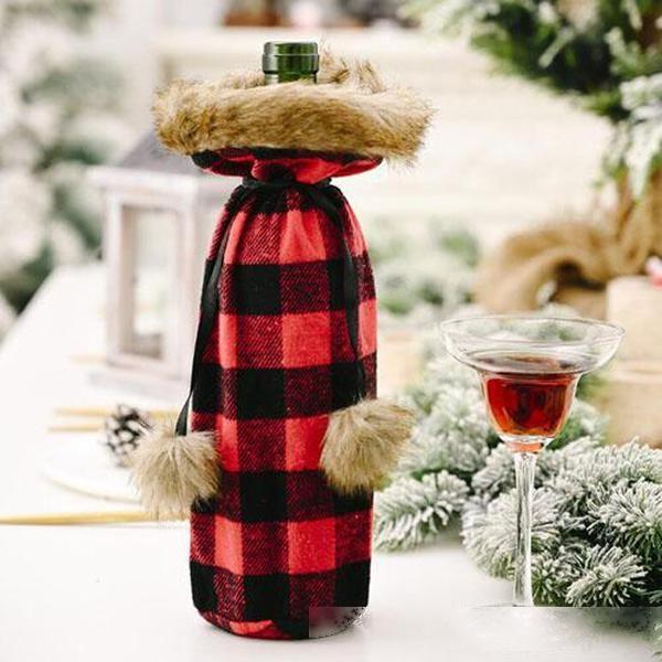Decorações de Natal Decorações Ornamento Garrafa de Vinho Garrafa Saco de Capa Natal Decorações De Party Frete Grátis 0022Cr