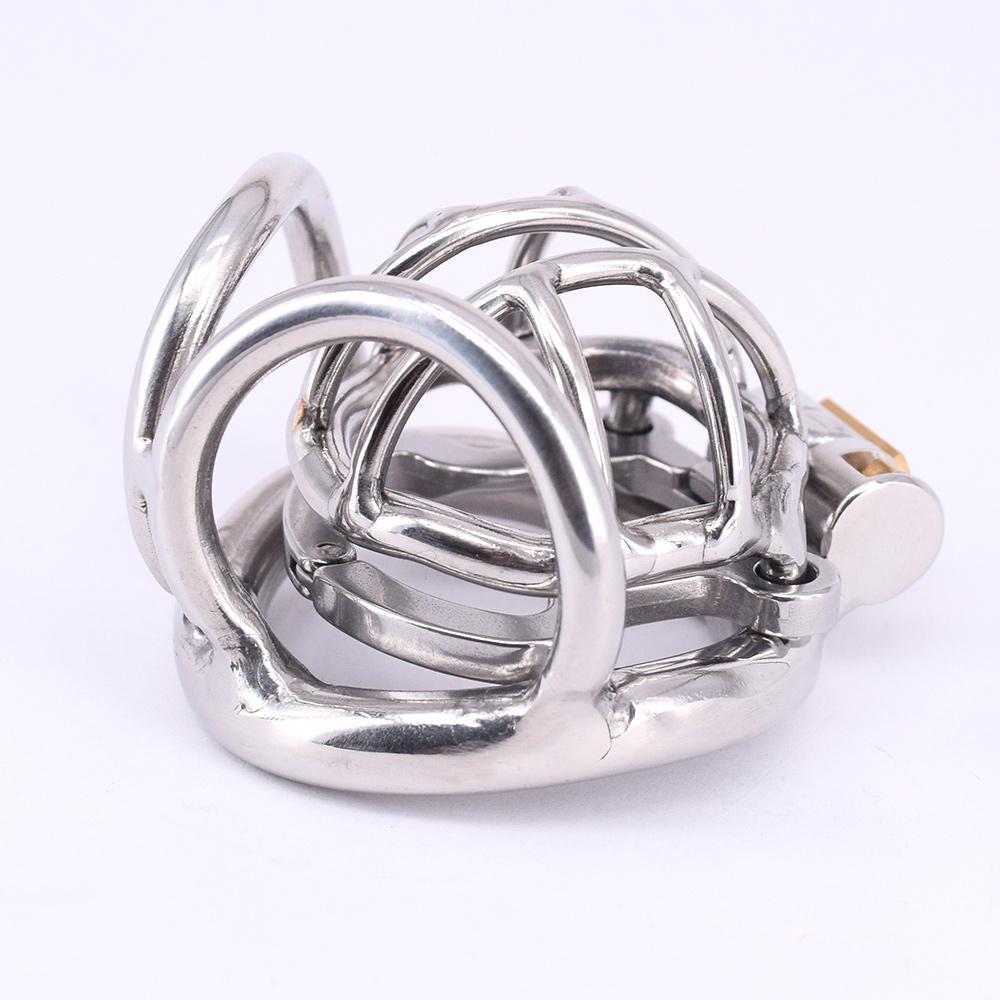 Gabbia di castità maschile in acciaio inox con anello anti-off corto metallo cockring curvo testicolo bondage ingranaggio dispositivi di castità