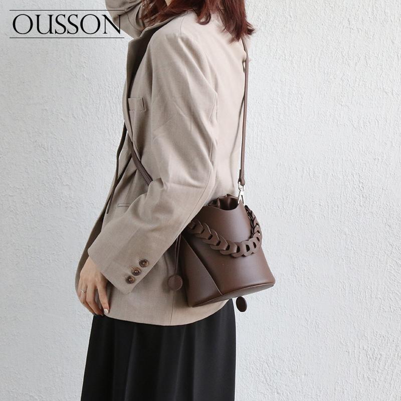 Ousson Mode, Freizeit, leichte und vielseitige One-Shoulder Messenger Tragbare Weiche Rindsleder-Twist-Gewebe-Eimer-Tasche
