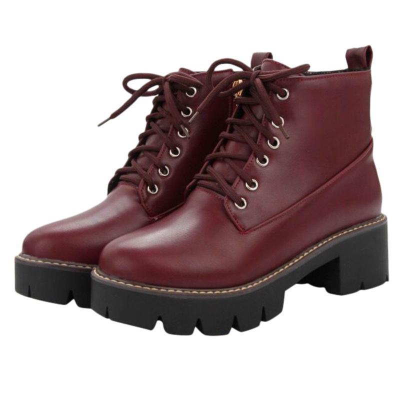 Botas de cuero de mujer de encaje de invierno para arriba casual bota corta dama moda media tacón tobillo fiesta zapatos de trabajo grande tamaño