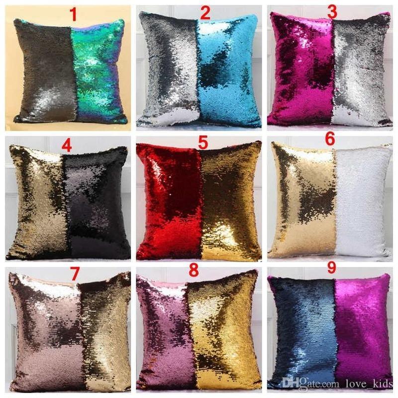40 * 40 cm Cubierta de la caja de la almohada de doble lentejuela Glamour Funda de almohada cuadrada Cubiertas Cubiertas para el hogar Decoración de coches Navidad Brillante Patchwork Cubiertas
