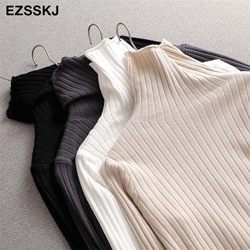 Chic Turtlenneck Pullovers осенью зима куча воротника свитер пуловеры женские женские повседневные свитер Top 201223