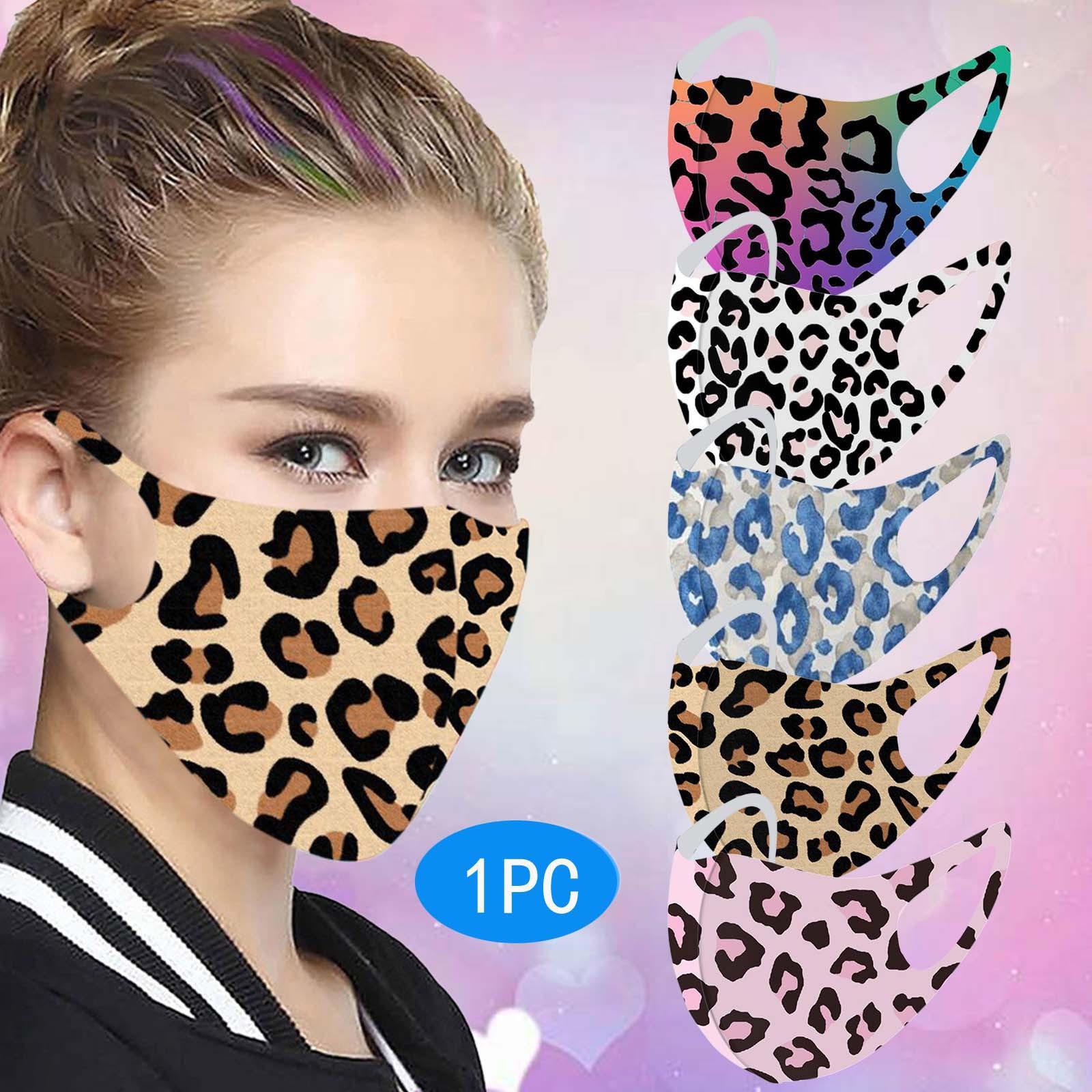 Leopard Print Ice Silk защитный Хэллоуин косплей моющиеся повторные использование маски для лица со взрослыми женщинами дышащие