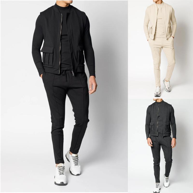 Nueva moda Ocio 3 piezas / Conjunto de traje de jogging de hombre corriendo traje de jogging Moda Ejercicio negro en 2020
