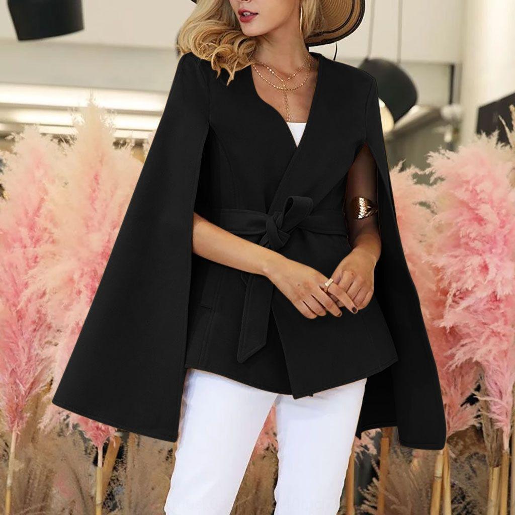 72ie мода женщины зима с капюшоном летучие рукава шерстяные пальто женский плащ пончо темпераментирующие пальто пальто мыса верхняя одежда шаль пальто плащ
