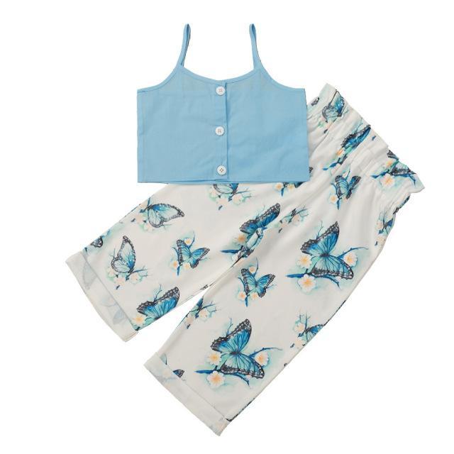 Girls Brack Tops + Широкие брюки Настройки Летние 2021 Детская одежда для бутик-моды 1-4T Маленькие девочки 2 ПК