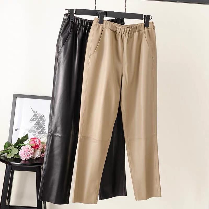 Mulheres Pnats Calças de couro Real Mulheres Calças de Couro Cintura Alta Calças de Harem Plus Tamanho 2020 Nova Cintura Elástica Calças de Streetwear LJ201029
