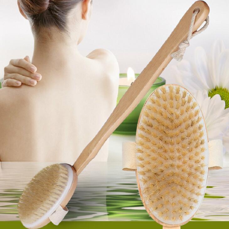 Escova do corpo da pele seca com longa manipulação antiderrapante destacável 100% natural de cerdas de cerdas de banho escova de chuveiro esfoliação de circulação de sangue EEE50