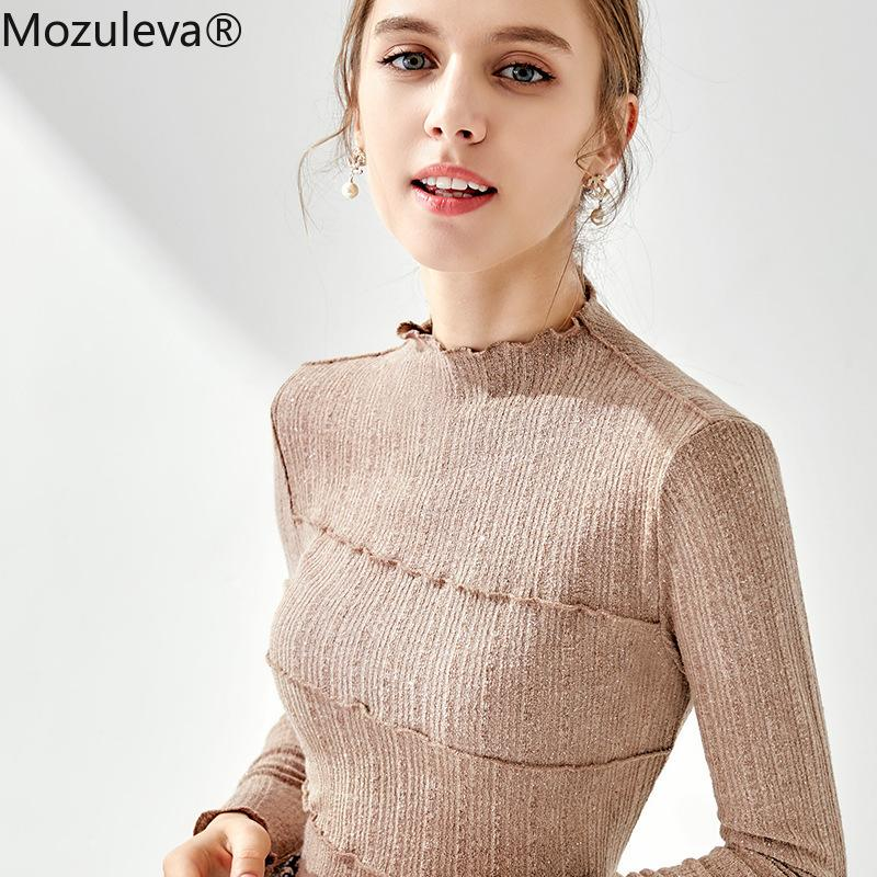 Mozuleva 2020 Yeni Sonbahar Kış Uzun Kollu Sıcak Elastik Dibe Üst Kazak Temel Günlük Balıkçı Yaka Beyaz Fit Tops Kadınlar A1112