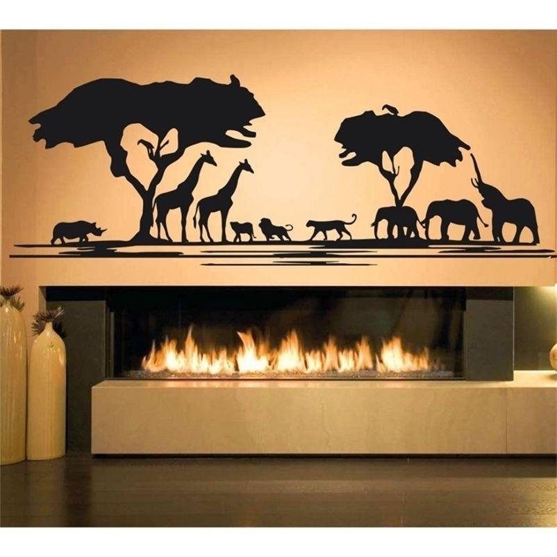 Africa Savanna Animal Tree Wall Decal Home Decor Living Room African Zoo Nursery Kids Room Decor Jungle Animals Stickers D723 201201