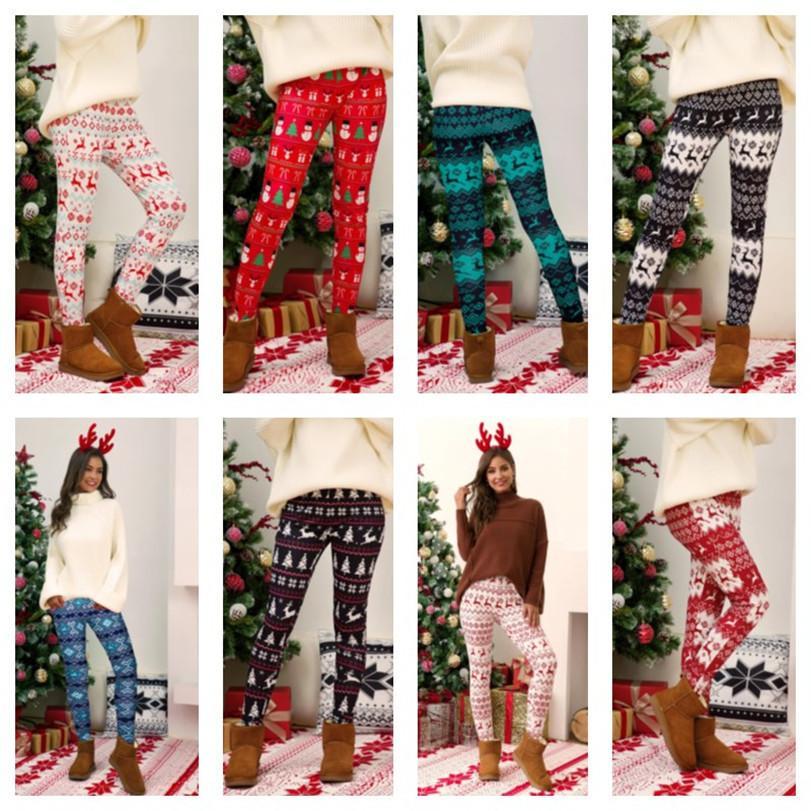 Plus Size Christmas Leggings Pant Árvore de Natal Snowflake Elk Impressão Calças Skinny Tights Legging Mulheres Bootcut Calças Calças de Calças E111105
