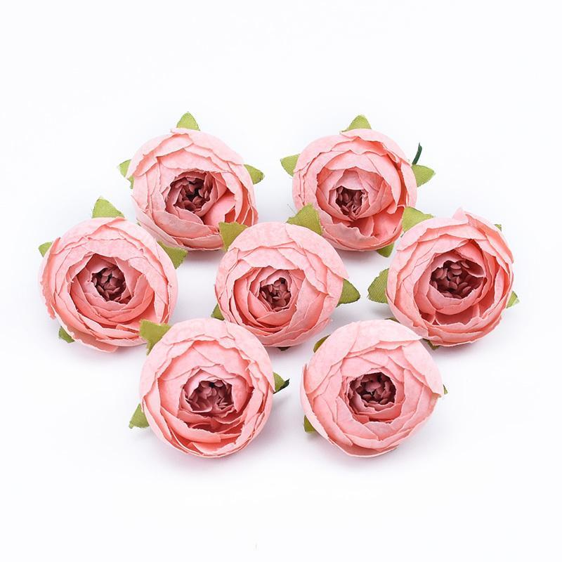 100 adet 4 cm Ipek Çay Güller Yapay Çiçekler Toptan DIY Hediyeler Şeker Kutusu Ev Dekorasyon Aksesuarları Düğün Dekoratif Çiçek Z1120