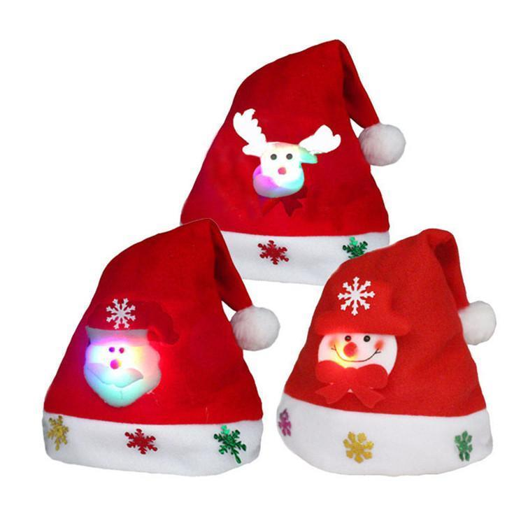 LED Christmas Hat Adult Kids Xmas Party Night Santa Hat Glowing Christmas Hat With Inlaid Santa Claus Reindeer Snowman Doll DHL Free