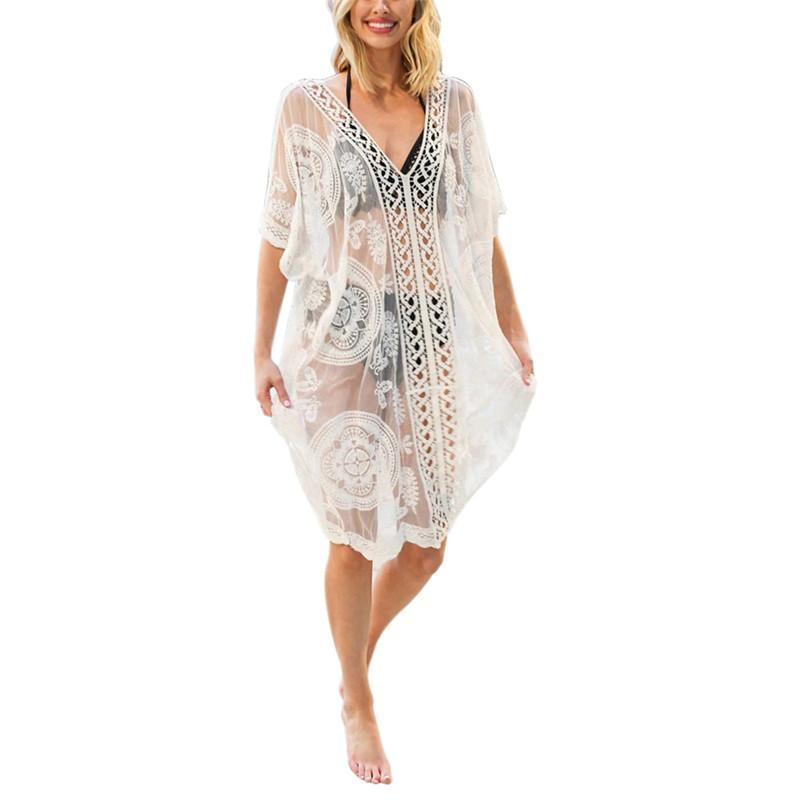 2020 estate delle donne V-Neck Beach Beachwear dello Swimwear del bikini di usura di occultamento Solid Lace Dress Crochet