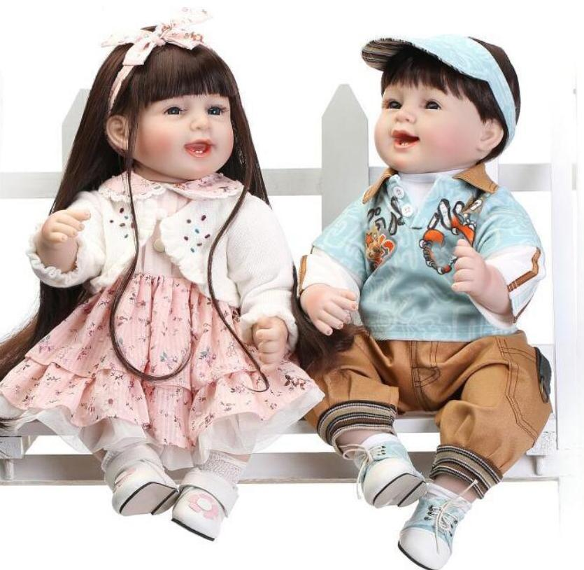 55cm Soft Body Silicone Reborn Baby Doll Toy For Girls NewBorn boy and Girl Baby Birthday Gift To Child Bedtime Early Education Toy