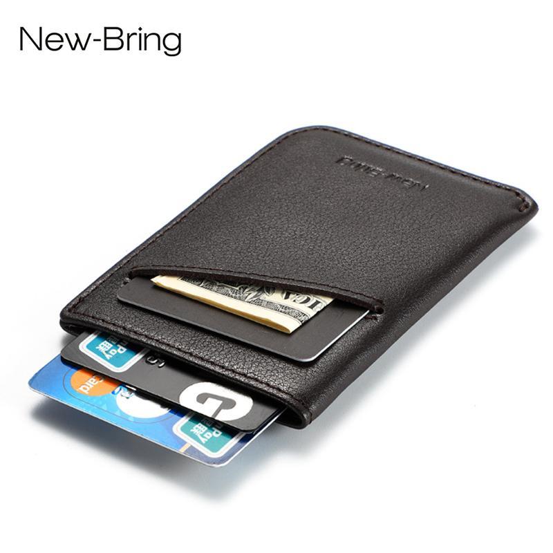 Newbring маленький кошелек компактная клатч подлинный кредитный мужчина кожаные держатели карточки слава наличными мини-рукав женщины держатель ID кошелек DPGUK