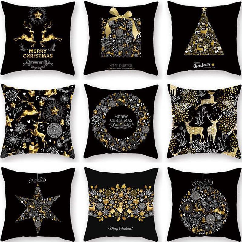 Frohe Weihnachten Kissenbezug Kissenbezug Elche Schneeflocke Weihnachtsdekorationen für Home Navidad 2020 Weihnachten Neujahr Party Decor