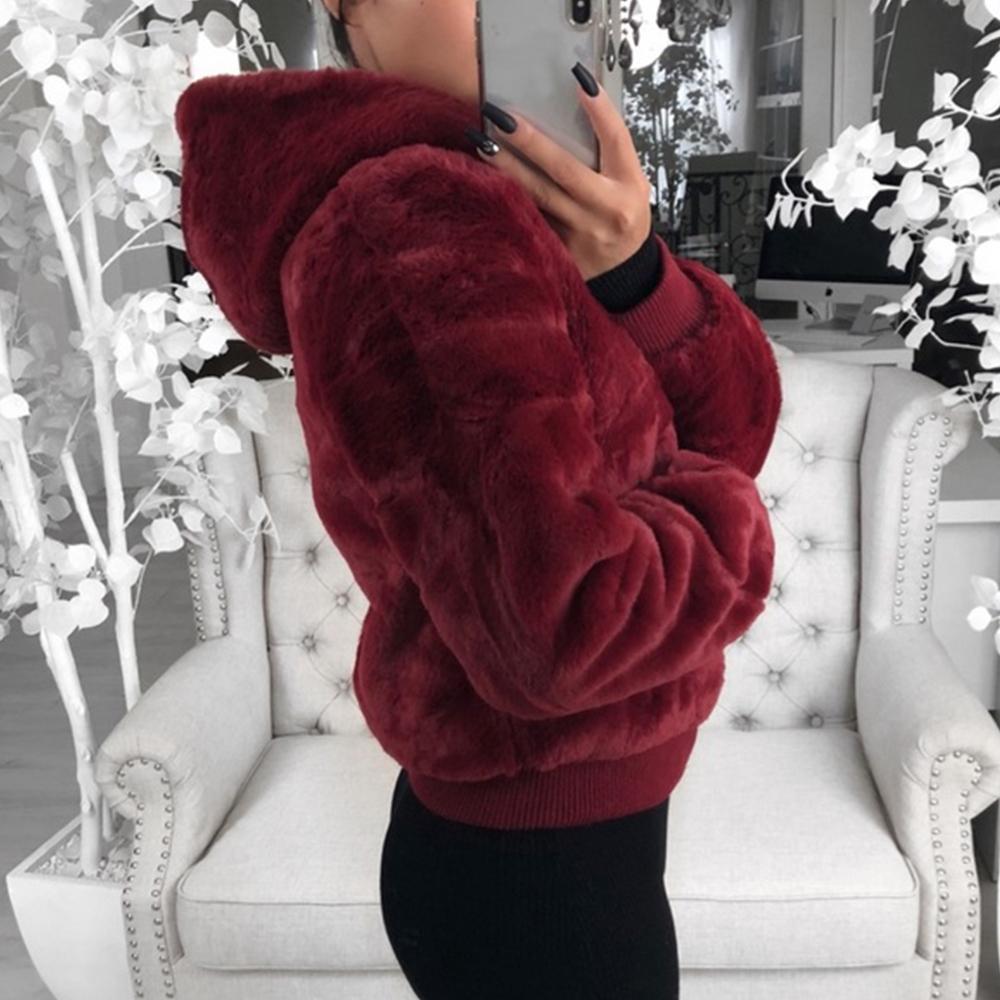 DIHOPE 2020 Yeni Kadın Ceket Hood Ile Yüksek Bel Moda Ince Siyah Kırmızı Pembe Faux Ceket Sahte Tavşan Kürk Mont