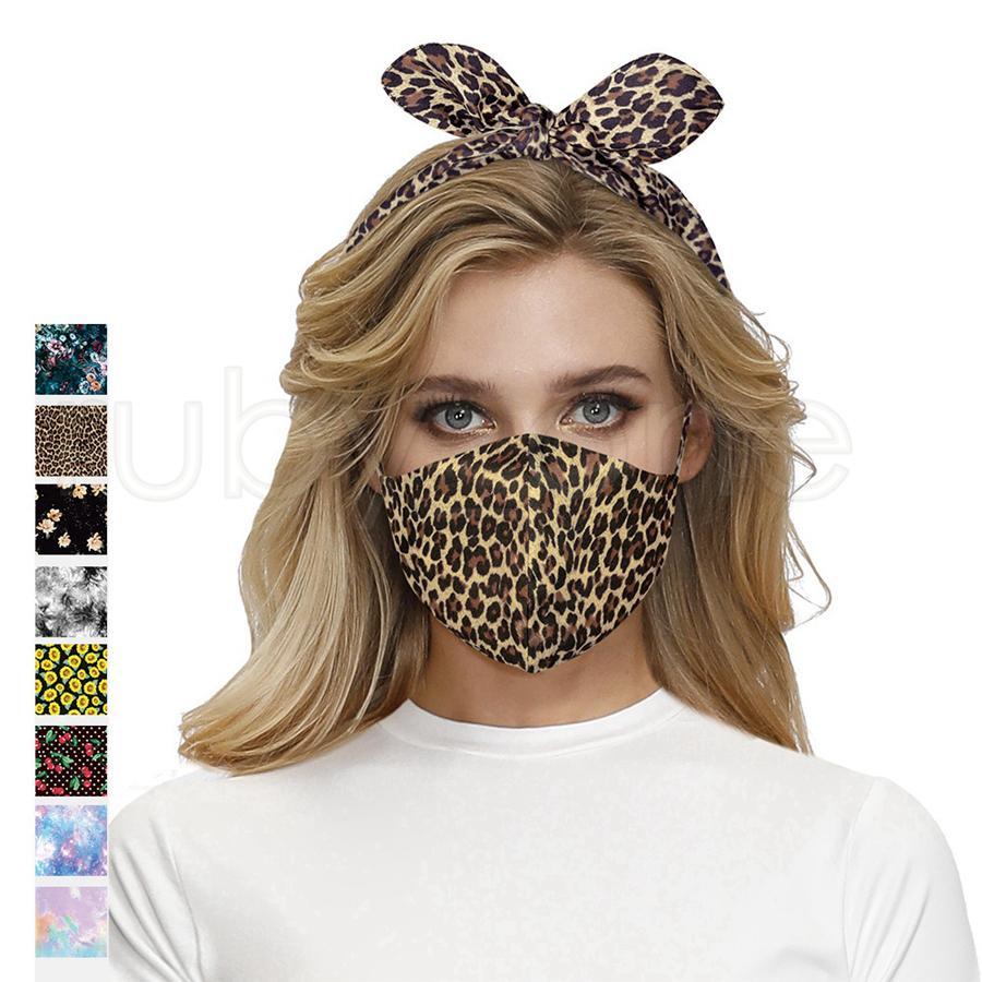 2 em 1 Máscara facial Máscara Vermelha Máscaras Máscaras Headband Sundawer Leopardo Orelha Protetora Penteado Cruz Hair Band Headress RRA2166