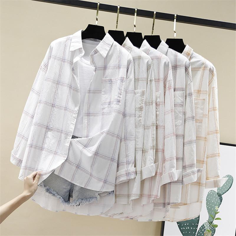 Women Blouses Shirts Tunic Womens Tops And Blouses 2020 Womenswear Long Sleeve Clothing Button Up Down White Print Plaid New