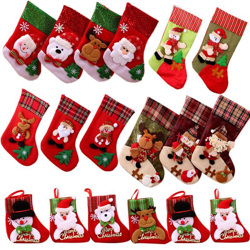 Noel Çoraplar Santa Kardan Adam Hediye Sahipleri Saklama Çantası Kolye Ev Dekorasyonu Yeni Yıl Çorap Süs Noel Ağacı Dekorasyon