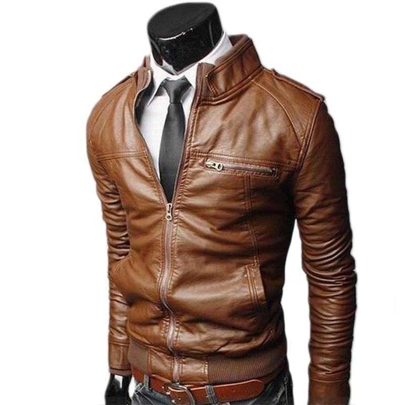 Мужская кожаная куртка мода осенний мотоцикл PU кожаный мужской зимний бомбардировщик куртки верхняя одежда велосипед классное искусственное кожаное пальто 201218