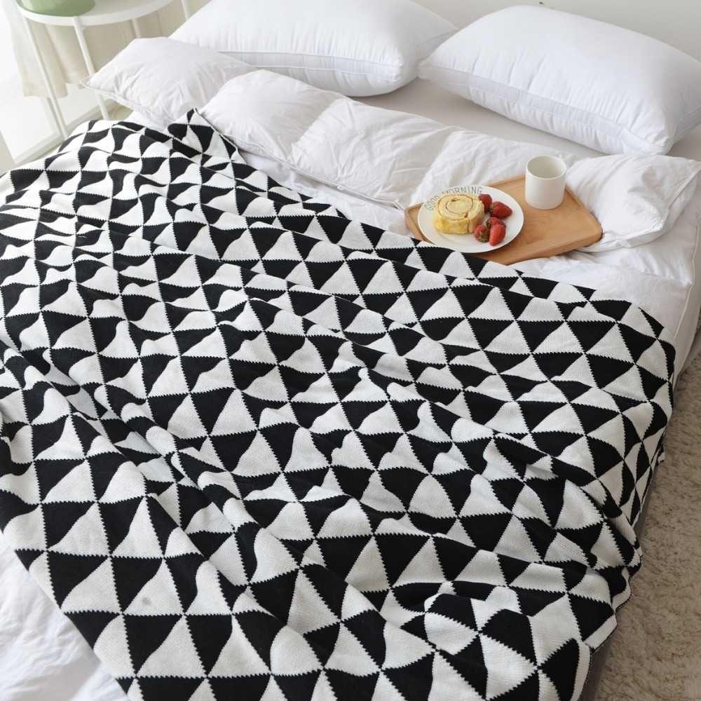 Chegada nova 100% algodão artesanal de alta qualidade sofá-cama suave cobertor de malha para verão amarelo preto azul cinza