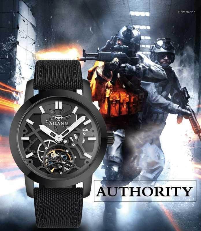 Новые роскоши спортивные мужские часы армии вентилятор полностью автоматические механические турбийонские полые перспективы ретро мужские часы1