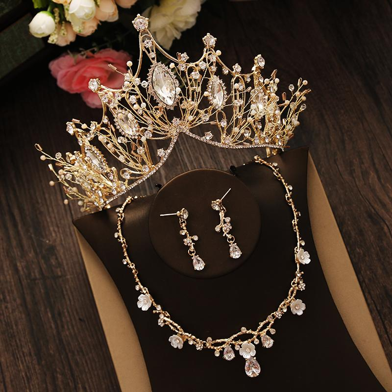 Hot Sale Luxury Bride Crown Headdress Golden Atmosphere Wedding Dress Necklace Earrings Three-piece Wedding Accessories Fine jewelry
