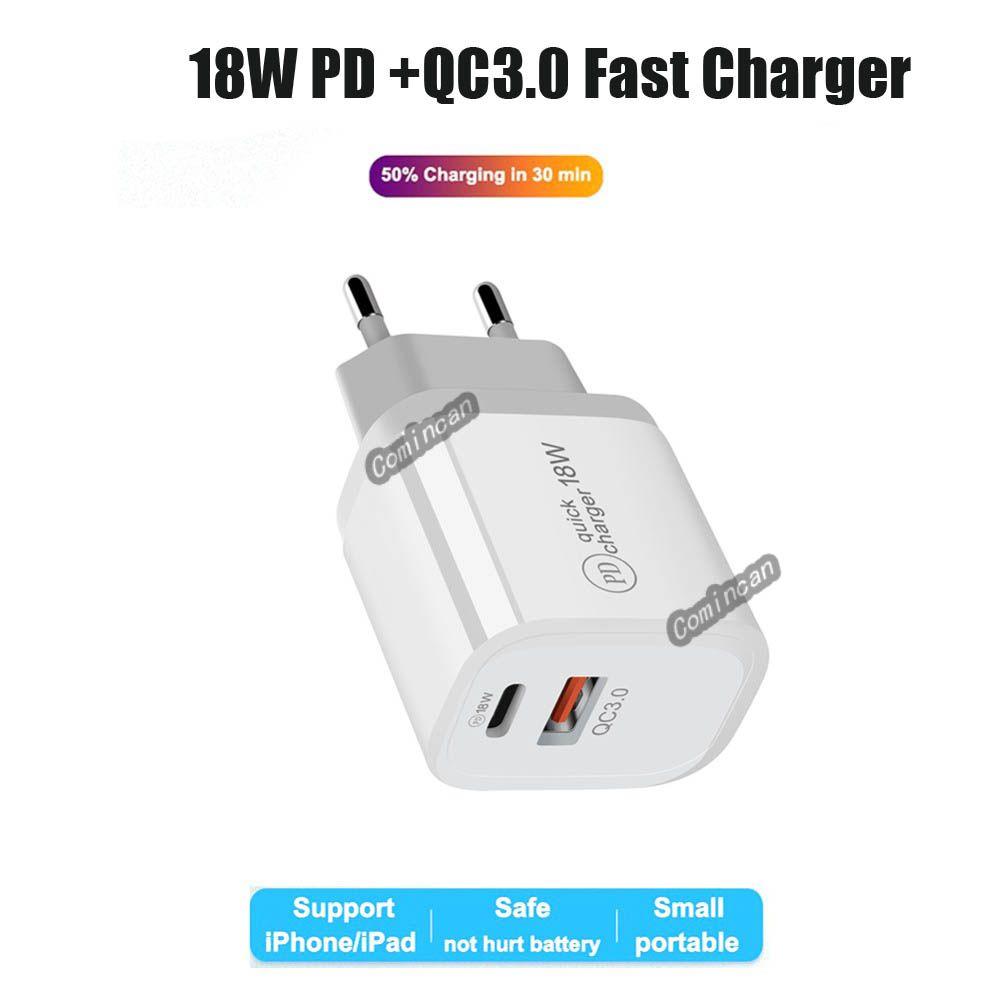 QC 3.0 PD 18W 빠른 충전 빠른 충전 EU US UK AU USB 유형 C 벽 충전기 플러그 전화 12 11 NOTE 20 DHL Shipping
