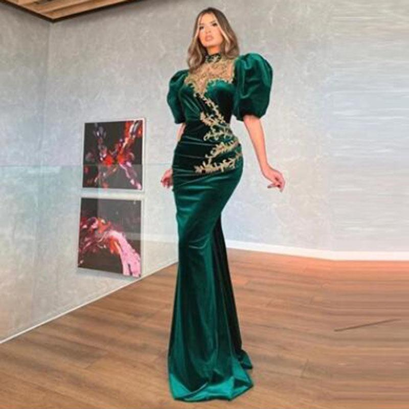 Mermaid Prom Dress Puff Cap Sleeves Velour Evening Dresses Floor Length Robe De Soiree Formal Party Gowns