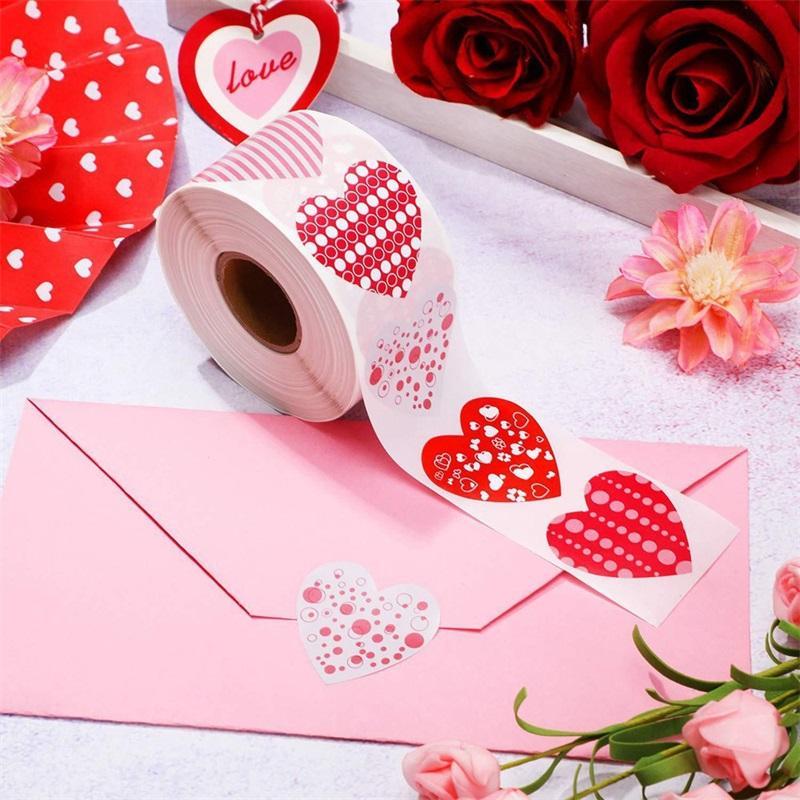Valentinstag-Siegel Aufkleber Hochzeits-Party-Lieferungen 8 Muster Geschenk verzieren 1 Zoll rot Liebe herzförmige Klebstoff-Label 4YH J2