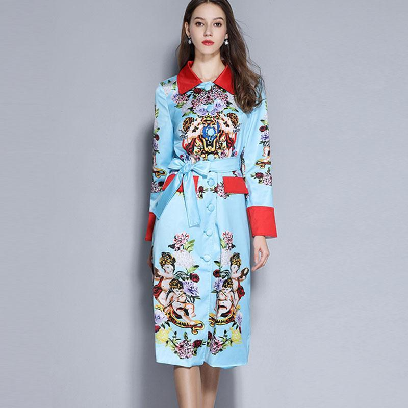 JSXDHK New 2020 Runway Women Trench Coat Spring Blue Printed Rose Single Breasted Overcoat Fashion Hit Color Long Windbreaker