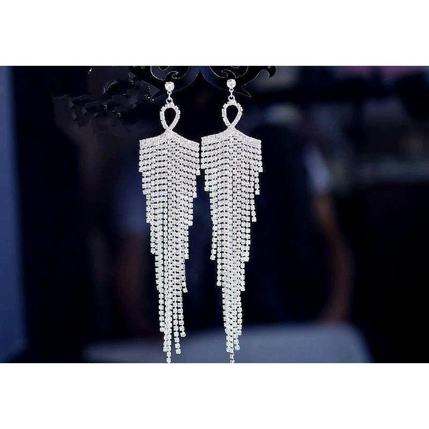 Neue große Ohrringe Luxus Österreich Kristall Clip auf großen langen Quaste Ohrringe ohne Loch Mix Baumeln Knoten Großhandel Wmyll dh_seller2010