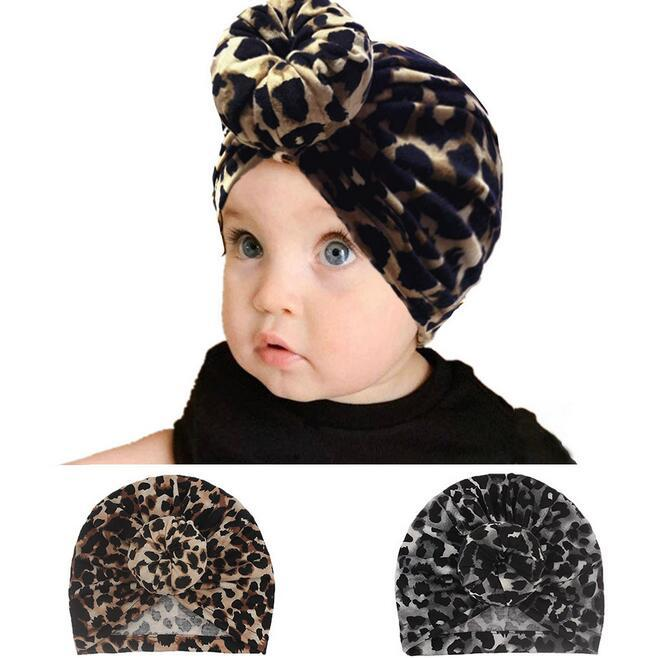 Baby Turban Hats for Girls Leopard Bow Knot Hats Kids Elastic Baby Turban Warm Winter Soft Headwrap Newborn Headband 2 Colors Beanie Cap