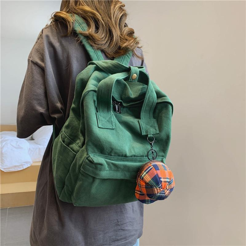Preppy Style Student Cotton Backpack Bag Female Teenager Canvas Fabric Korean Fashion School Book Soft Laptop Knapsack Rucksack Q1129